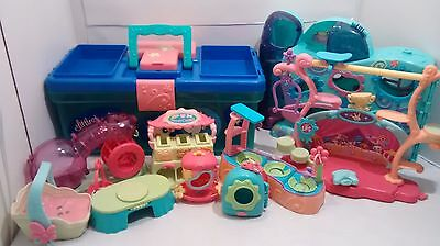 Littlest Pet Shop Lot Hotel House Daycare Playset Tackle Carry Case Accessories