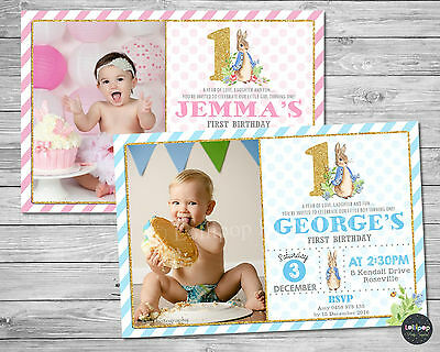 Peter Rabbit 1St First Birthday Invitations Invite Party Supplies Pink Blue Gold