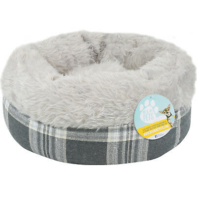 Me & My Super Soft Round Grey Tartan Donut Pet Bed Cat/kitten/dog/puppy Warm