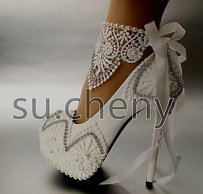 High heel white light ivory lace platform  ribbon ankle wedding shoes size 5-10