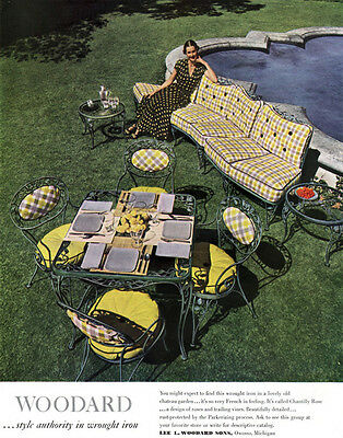 Woodard Wrought Iron Garden Furniture CHANTILLY ROSE Very French 1949 Print Ad