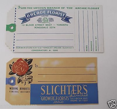 Arcade Florist 13 Bloor Toronto & Slichters  Tags Or Labels Original