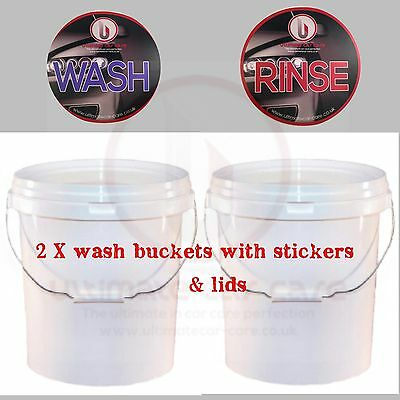 2 x Car Wash Buckets (20 Litres) Wash & Rinse, with Ultimate car care labels 20L