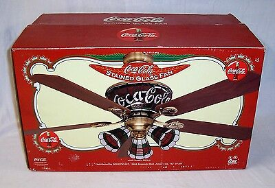 "New Coca Cola Tiffany Style Stained Glass  5 Blades 52"" Ceiling Fan"