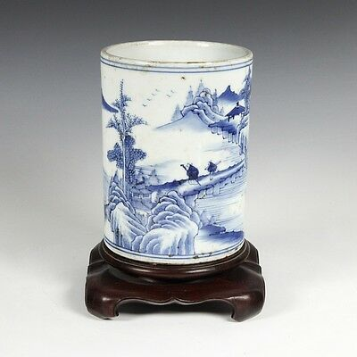 Chinese Qing Scholar's Blue And White Porcelain Calligraphy Brush Pot With Base
