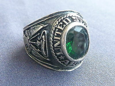 United States Army Ring Facelted Emerald Green Inlay 10 / V