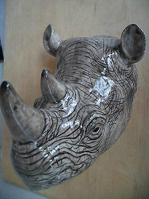 Fabulous Large Rhino Wall Vase/ Plant Pot By Quail Ceramics Boxed Ideal Gift