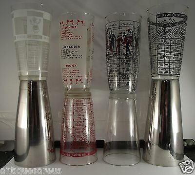 8 VINTAGE MARTINI GLASS COCkTAIL SHAKER  LOT FEDERAL , HAZEL ATLAS