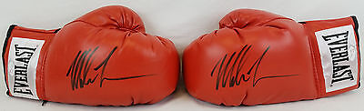 Pair of Mike Tyson Signed Red Everlast Boxing Gloves JSA Witness Autographs