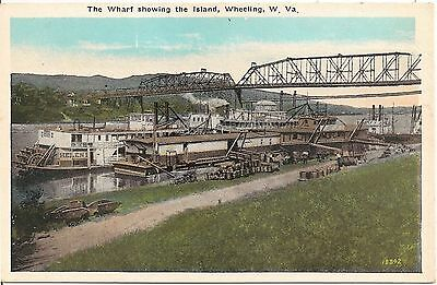 The Wharf Showing the Island in Wheeling WV Postcard 192?