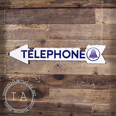 Vintage Double Sided Bell Telephone Porcelain Arrow Sign