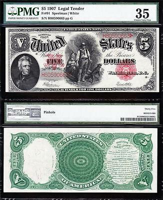 "AWESOME Bold & Crisp VF++ $5 1907 ""WOODCHOPPER"" US Note! PMG 35! H80590663"