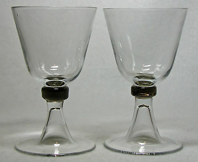 Pair of Signed Daum Crystal Wine Glasses With Colored Knop's