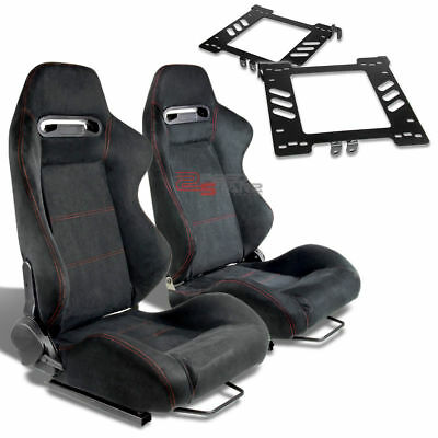 2X Type-R Black Suede Red Stitch Racing Seat+For 99-05 Golf Mk4 Adapter Bracket