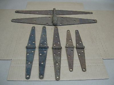 """Antique Lot 7 Old Iron Door Strap 8"""" to 16"""" Hinges Rusty Gate Barn Hardware"""