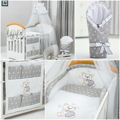 stunning 12 pc BEDDING SETS stars grey teddy embroidery FOR COT /COT BED CANOPY