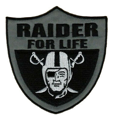 "🔥 4"" OAKLAND RAIDERS Raider Nation for Life Football Iron-on Jersey PATCH!"