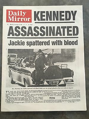 The Daily Mirror Newspaper 1963 Kennedy Assassination Official Reprint