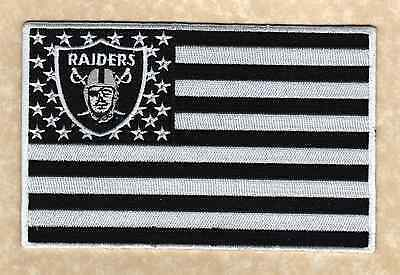 "🔥6"" OAKLAND RAIDERS Raider Nation 'American Flag' Banner Iron-on JERSEY PATCH!"