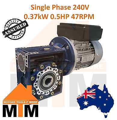 Single Phase 0.37kW 0.5HP 47rpm Type 50 Electric Motor & Worm Gearbox Drive i30