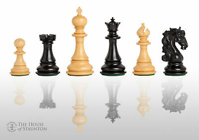 "The Varese Luxury Chess Set - Pieces Only - 4.4"" King - Genuine Ebony"