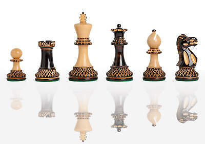 """The Burnt Grandmaster Chess Set - Pieces Only - 4.0"""" King"""