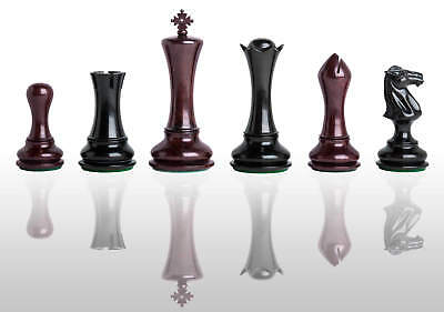 "The Empire Prestige Chess Set - Pieces Only - 4.4"" King - Blood Rosewood & Genui"
