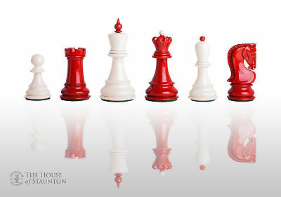 """The Zagreb '59 Chess Set - Pieces Only - 3.875"""" King - Red and White Lacquered"""