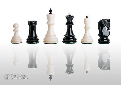 """The Zagreb '59 Chess Set - Pieces Only - 3.875"""" King - Black and White Lacquered"""