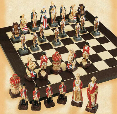 The American Revolutionary War Hand Painted Chess Pieces