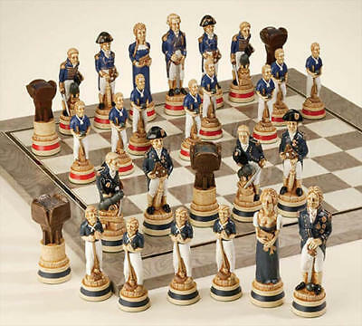 The Battle of Trafalgar Hand Painted Chess Pieces