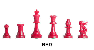 Triple - Weighted Regulation Colored Plastic Chess Pieces - Red