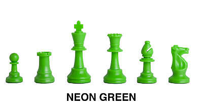 Triple - Weighted Regulation Colored Plastic Chess Pieces - Neon Green