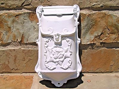 Cast Iron Victorian style white mailbox suggestion box Repro