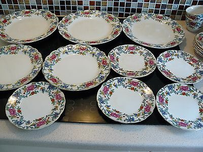 10 assorted vintage Booths silicon china/china Floradora plates *COLLECT WR5*