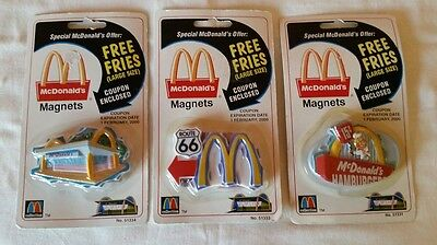 McDonald's Collection RESTRAUNT HAMBURGER ROUTE 66 REFIGORATOR MAGNETS 1999 MOC