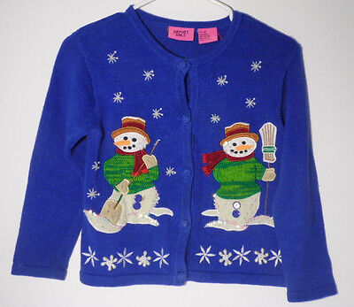 Vintage 1990s SNOWMEN Blue Cardigan YOUTH SIZE MEDIUM Ugly Christmas Sweater