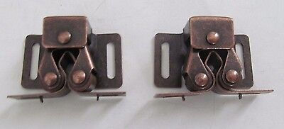 2 Strong Double Roller Cabinet Cupboard Door Catch Latch Antique Copper RV Boat
