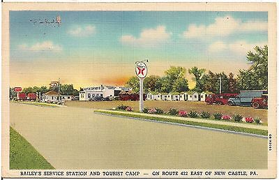 Baileys Service Station and Tourist Camp East of New Castle PA Postcard Texaco