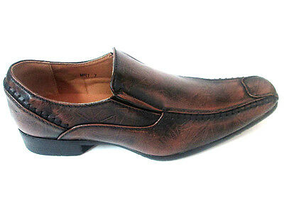 Marco Rossi Faux Leather Loafers Slipon Distressed Brown Men's Shoes-MR1