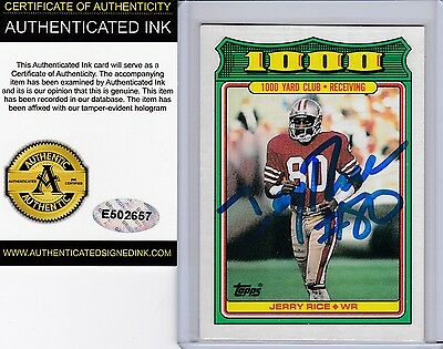 San Francisco 49ers #80 Jerry Rice Autograph 1988 Topps Card w/ *COA Auto Signed