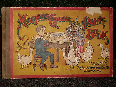 Mother Goose Paint Book 1903 Victorian Antique Toy Saalfield Pub Co Akron Ohio