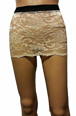 New Hot Ladies Women See Through Peach Lace Fitted Micro Mini Skirt Size 6 To 20