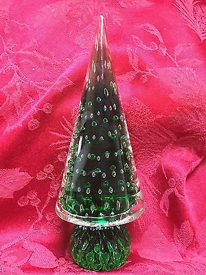 FLAWLESS Exceptional MURANO Art Glass Green & Bubbles CHRISTMAS TREE Sculpture