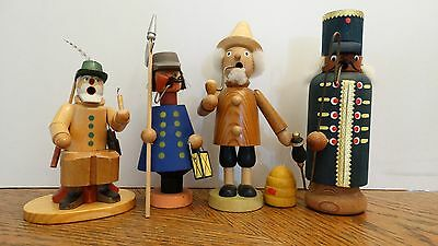 Lot of 4 Erzgebirge Expertic GDR DDR Germany Wooden Incense Smokers