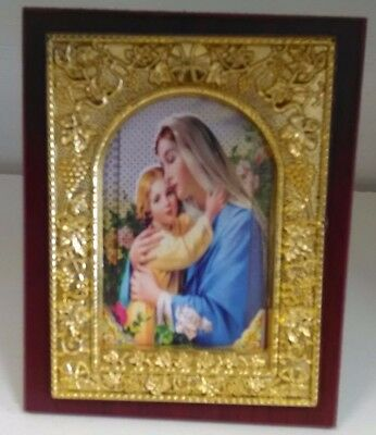 Religious Wooden Embossed Frame of Virgin Mary & Child Gold or Silver Colour