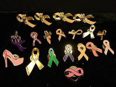 Lot of 19 Pink Ribbon Lapel Hat Pins Cancer Awareness Support