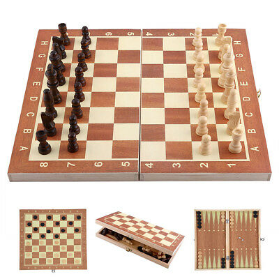 3in1 Foldable Wooden Chess Set Pieces Wood Checkers Board Storage Box Kids Toy