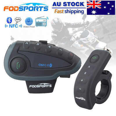 V8 NFC 1200M Bluetooth Motorcycle Helmet interphone Intercom Headset FM +Remote
