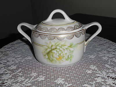 Vintage China Germany Hand Painted Sugar Bowl with Lid